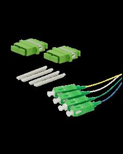 Asennussarja 4 häntäkuitua ja 2 SC APC DPX adapteria